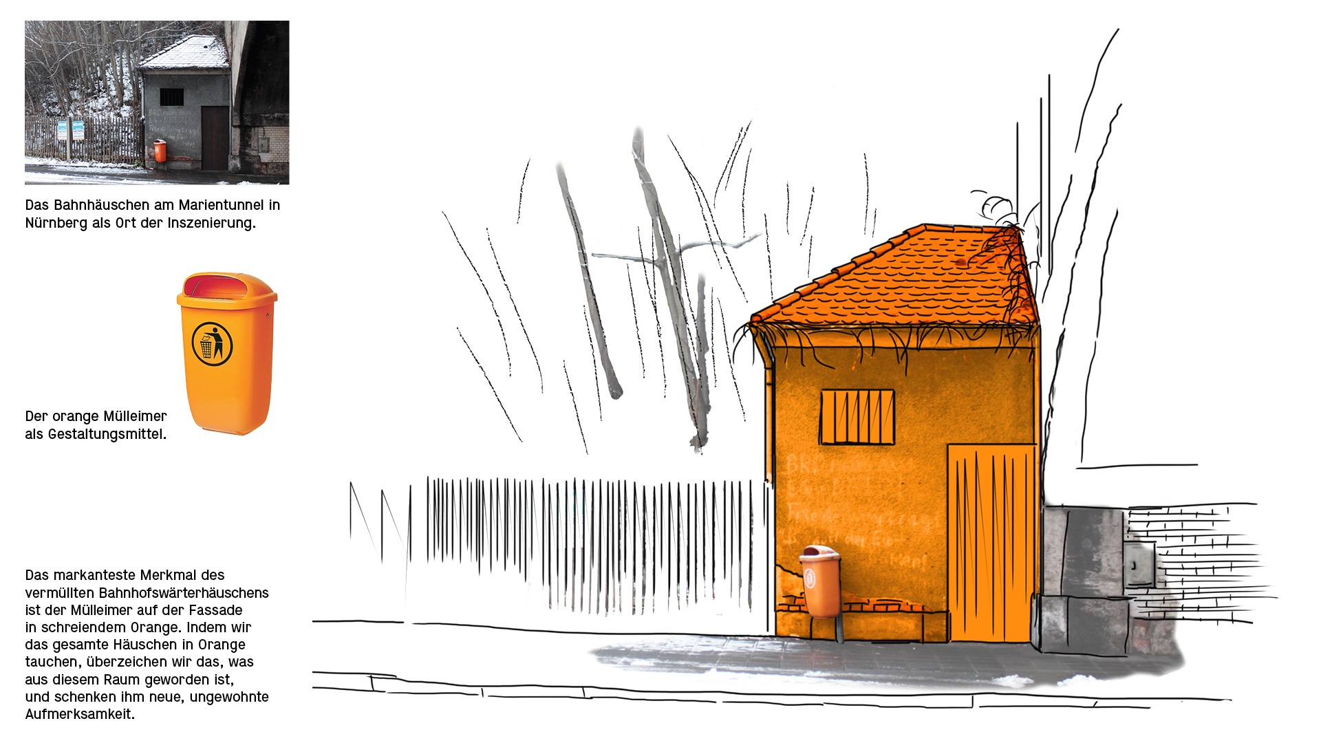 Das Bahnhäuschen am Marientunnel in Nürnberg las Ort der Inszenierung. Der orange Mülleimer als Gesatltungsmittel.