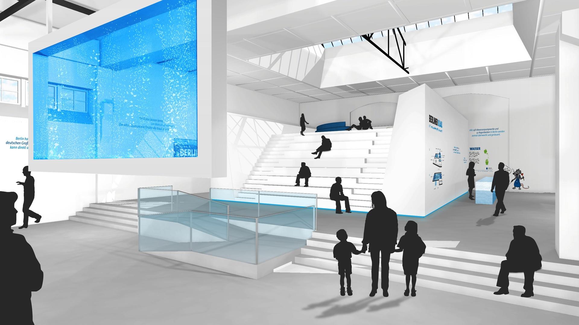 Ausstellungsarchitektur Wasserwelt Berliner Blau